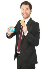business mann mit kreditkarte