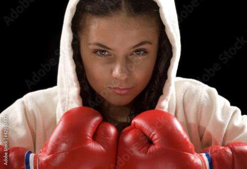 Fototapeten,mädchen,box,boxer,handschuhe
