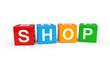 Shop cubes 3d render illustration