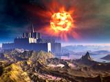 Alien Castle Fortress Under Exploding Sun