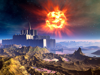 Alien Castle Fortress Under Exploding Sun