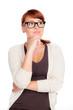 rothaarige frau mit brille überlegt
