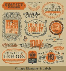 Vector vintage emblems, elements and labels