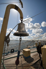 Bronze bell on a tall ship