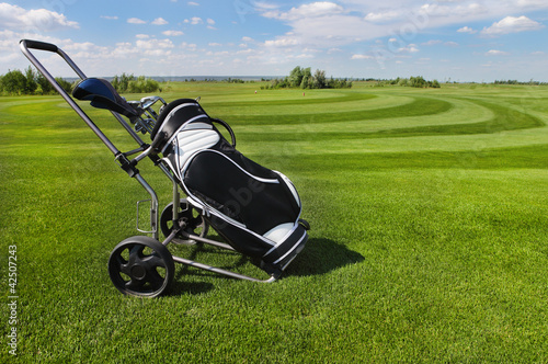 Golf balls green grass background
