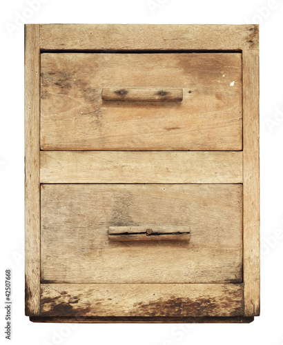 Vintage wooden cabinet drawer isolated on white background
