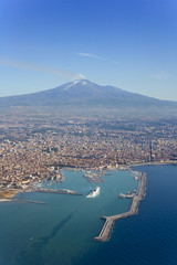 Bird's eye view of Catania with the Etna Vulcan