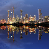 Reflection of petrochemical plant at night