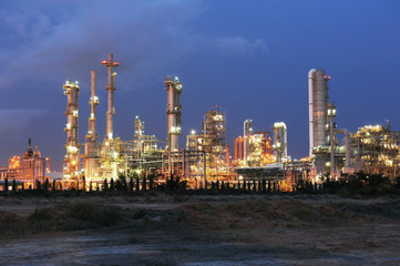 Petrochemical plant in sunset time