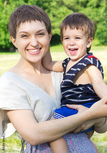 Young mother with son outdoor