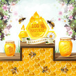Glass jar and honey over floral background
