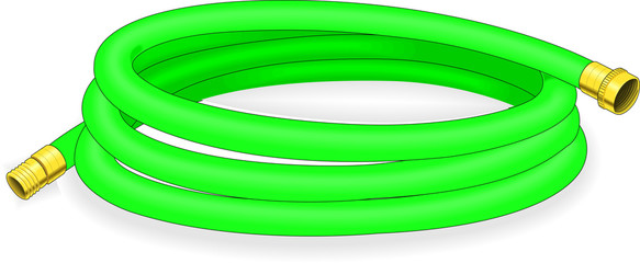 A green garden hose for water
