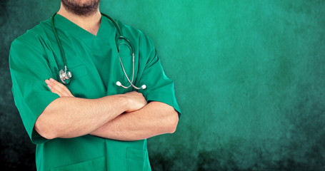 Surgeon on green background