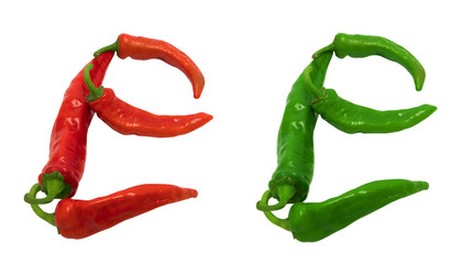 Letter E composed of green and red chili peppers
