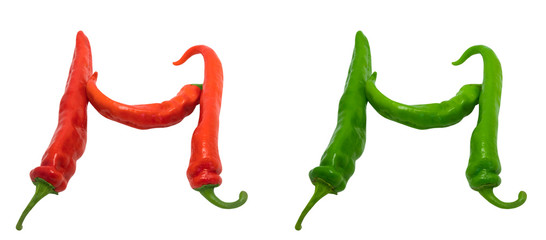 Letter H composed of green and red chili peppers