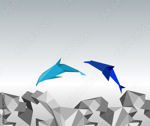Deurstickers Geometrische dieren illustration of paper dolphins in a jump.