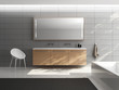 Grey minimal elegant luxury bathroom, wood sink