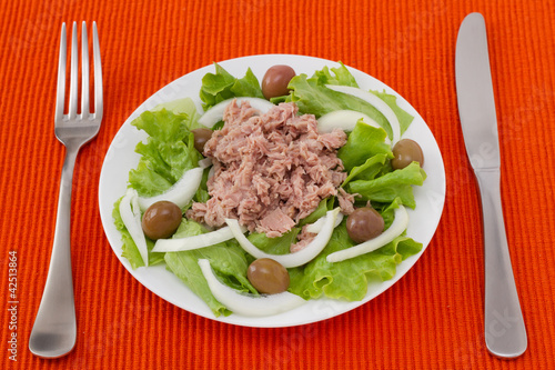 tuna salad with olives in white plate