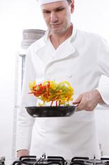 Chef roasting vegetables