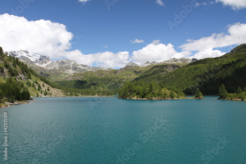 alpine lake in the valley