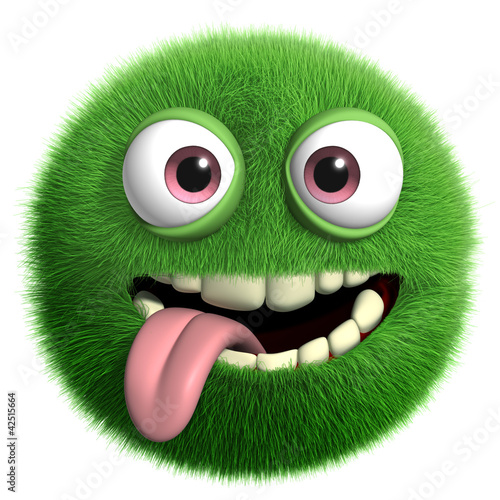 Fotobehang Sweet Monsters green furry monster