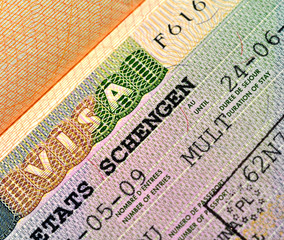 Schengen Visa on passport page
