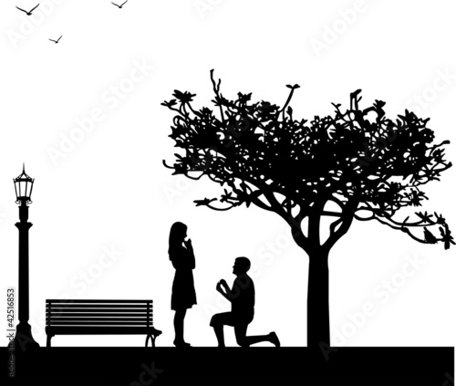 Romantic proposal in park under the tree silhouette