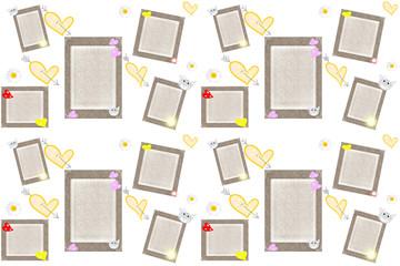 Серые рамки с сердечками на белом фоне