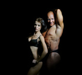 man and a woman in the gym