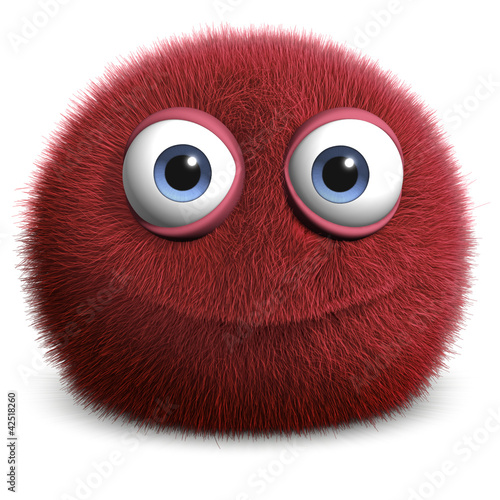 Leinwanddruck Bild red hairy ball