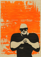 Doorman Poster, Bouncer on grunged paper background