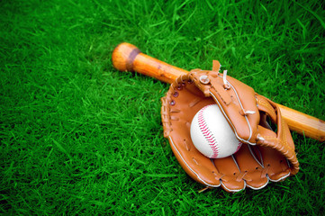 baseball bat, ball and glove