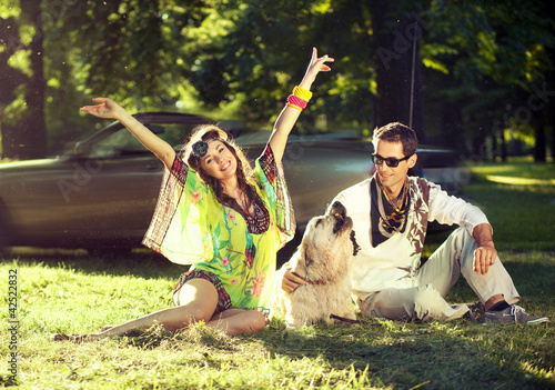 Cheerful couple posing