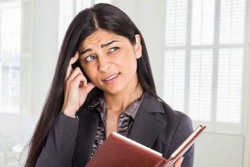 Worried businesswoman