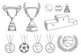 championship items vector set poster