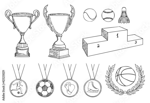 championship items vector set