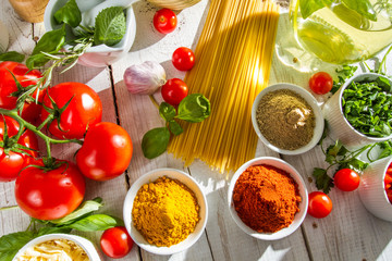 Fresh vegetables and spices in Italian cuisine