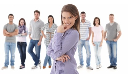 Group portrait of happy young people