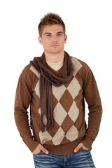 Trendy young man posing in scarf