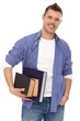 Portrait of male student with books smiling