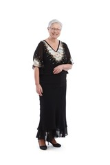 Smiling old lady in evening dress