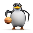 3d Penguin in glasses dribbles basketball