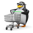 3d Penguin in glasses with shopping trolley
