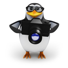 3d Penguin in glasses points his camera