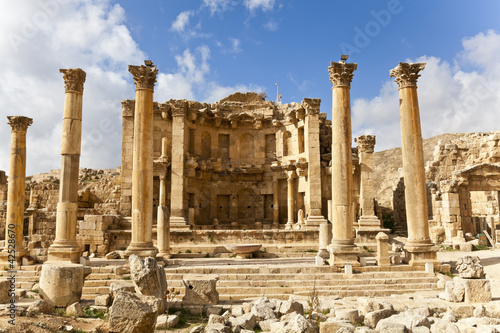 canvas print picture nymphaeum in the roman ancient city of jerash, jordan