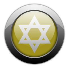 "Yellow Metallic Orb Button ""Star Of David"""