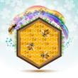 Wood frame with bees and honeycombs
