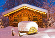 Leinwanddruck Bild - ski hut winter christmas