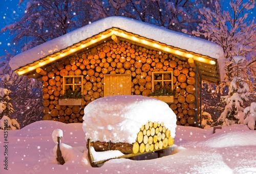 Leinwandbild Motiv ski hut winter christmas