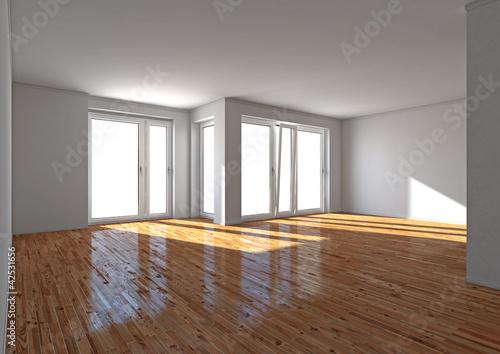 Raum mit hellem Parkett